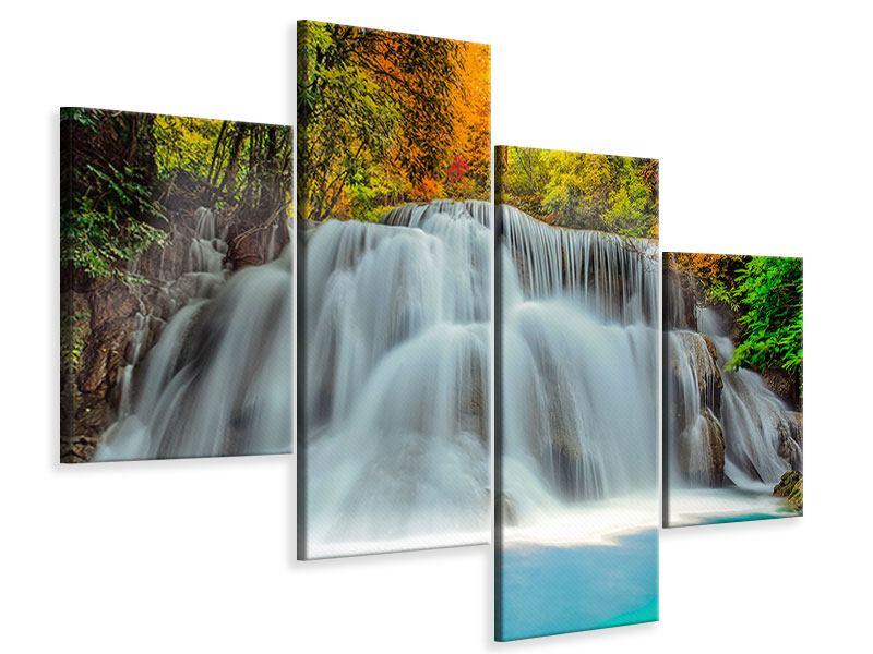 Leinwandbild 4-teilig modern Fallendes Gewässer