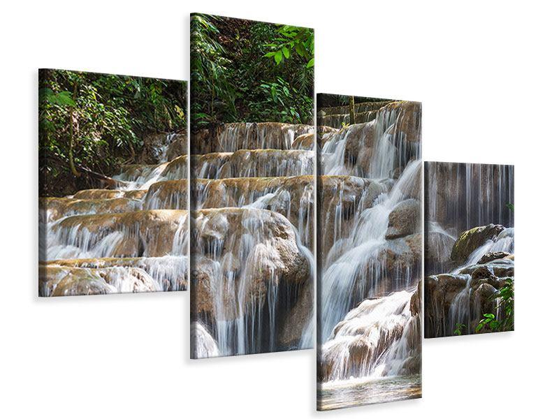 Leinwandbild 4-teilig modern Mexikanischer Wasserfall