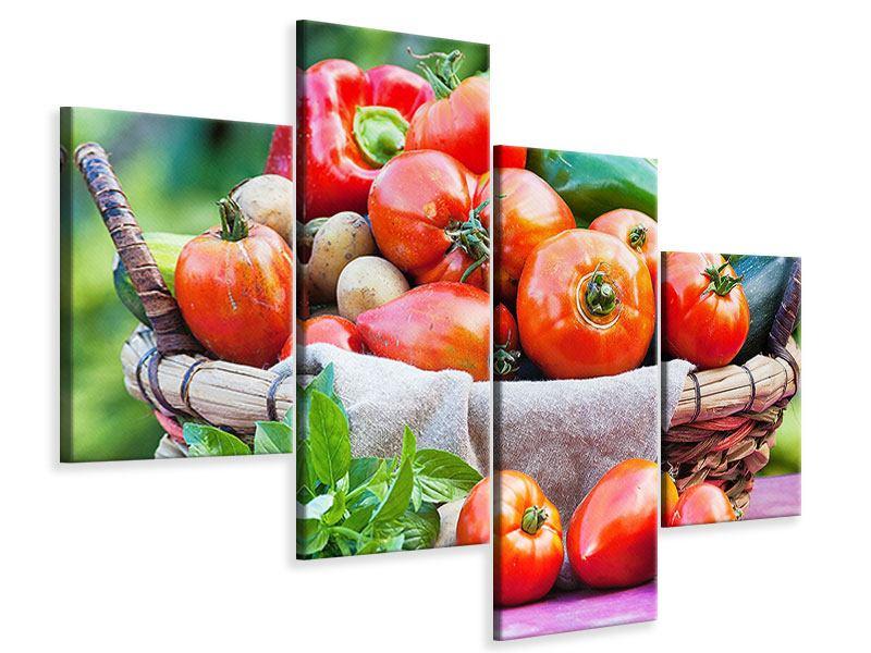 Leinwandbild 4-teilig modern Gemüsekorb
