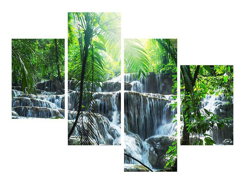 Leinwandbild 4-teilig modern Wasserfall Agua Azul