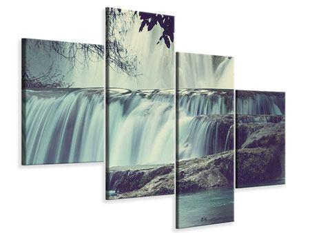 Leinwandbild 4-teilig modern Wasserfall Mexiko