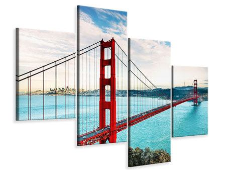 Leinwandbild 4-teilig modern Golden Gate Bridge