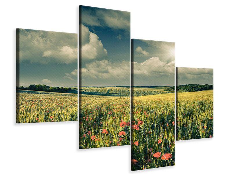 Leinwandbild 4-teilig modern Der Mohn im Weizenfeld