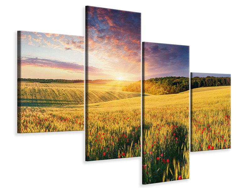 Leinwandbild 4-teilig modern Ein Blumenfeld bei Sonnenaufgang