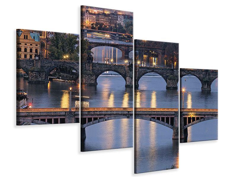 Leinwandbild 4-teilig modern Brücken in Prag