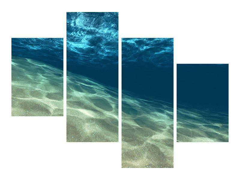 Leinwandbild 4-teilig modern Unter dem Wasser