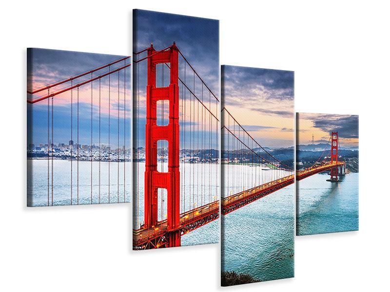 Leinwandbild 4-teilig modern Der Golden Gate Bridge bei Sonnenuntergang