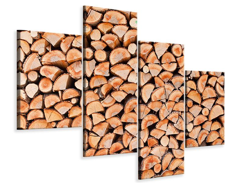 Leinwandbild 4-teilig modern Birkenstapel