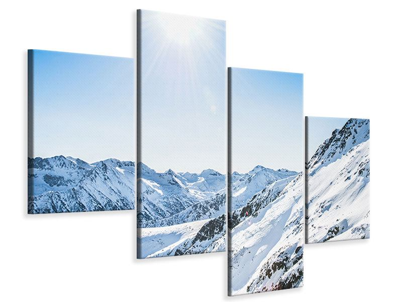 Leinwandbild 4-teilig modern Bergpanorama im Schnee