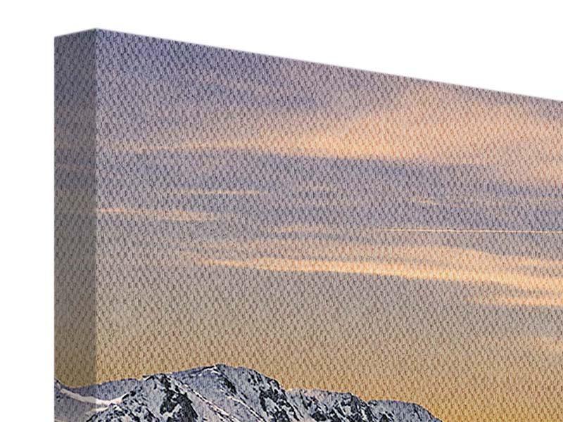 Leinwandbild 4-teilig modern Sonnenuntergang in den Bergen