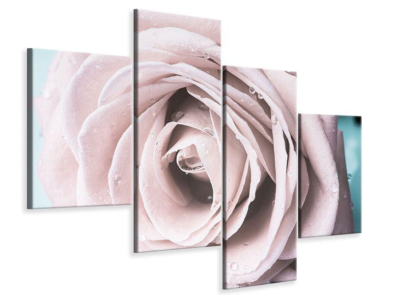 Leinwandbild 4-teilig modern Pastellrose