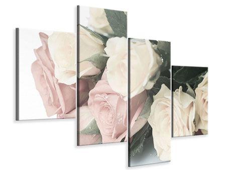 Leinwandbild 4-teilig modern Rosenromantik