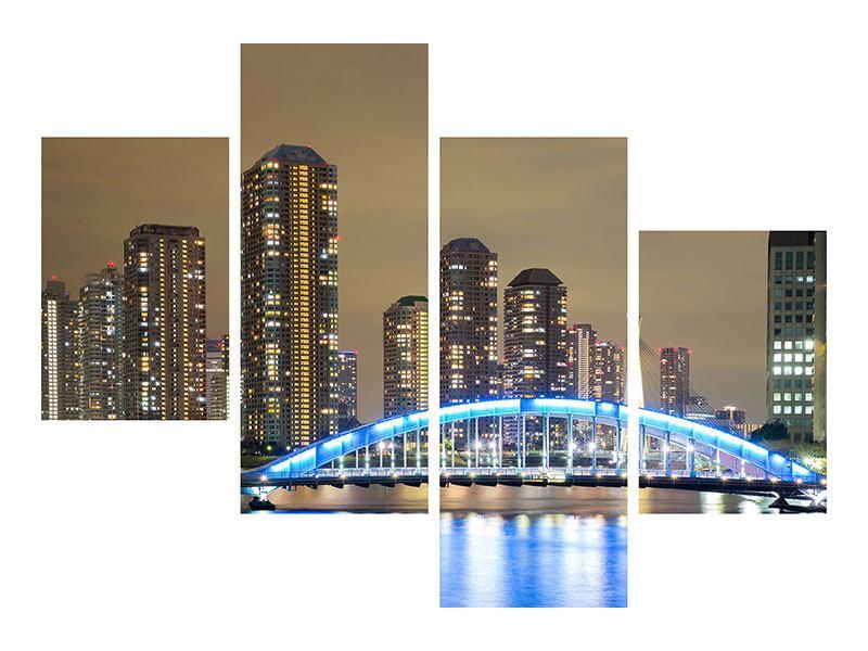 Leinwandbild 4-teilig modern Skyline Tokio in der Nacht