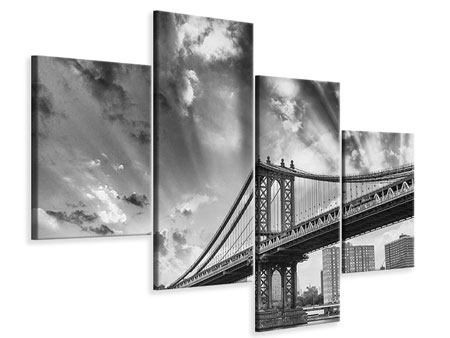Leinwandbild 4-teilig modern Manhattan Bridge