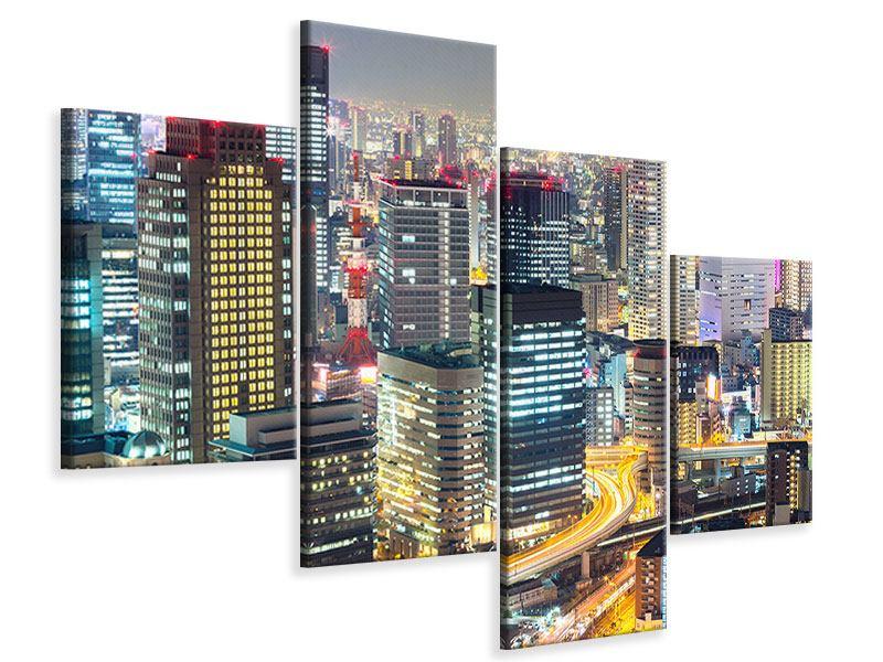 Leinwandbild 4-teilig modern Skyline Osaka im Lichtermeer