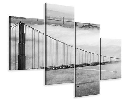 Leinwandbild 4-teilig modern Golden Gate Brücke