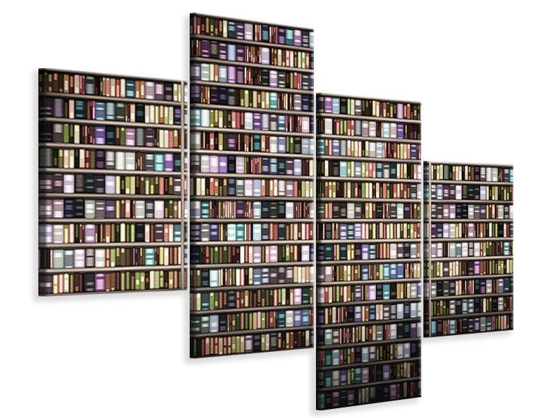 Leinwandbild 4-teilig modern Bücherregal