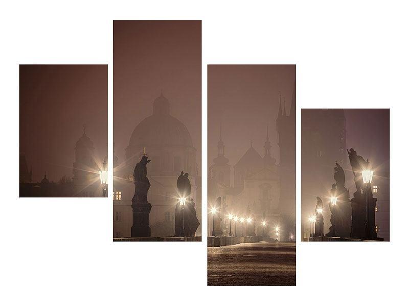 Leinwandbild 4-teilig modern Die Karlsbrücke bei Nacht