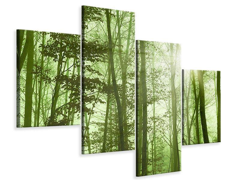 Leinwandbild 4-teilig modern Nibelungenwald