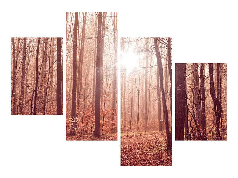Leinwandbild 4-teilig modern Sonnenuntergang im Herbstwald