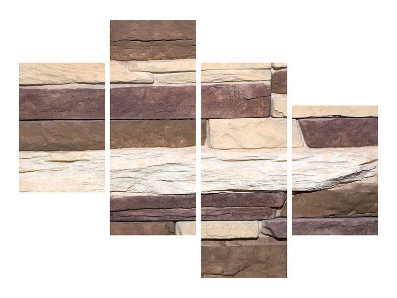 Leinwandbild 4-teilig modern Designer-Mauer