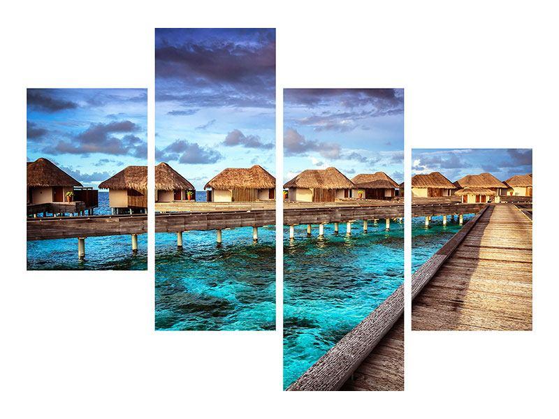 Leinwandbild 4-teilig modern Traumhaus im Wasser