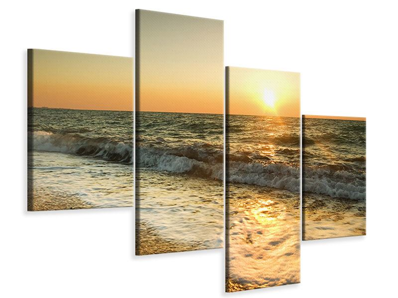 Leinwandbild 4-teilig modern Sonnenuntergang am Meer