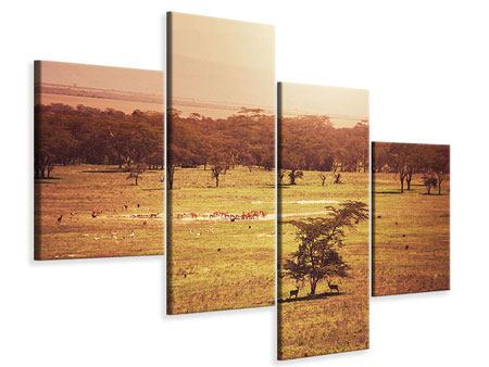 Leinwandbild 4-teilig modern Malerisches Afrika