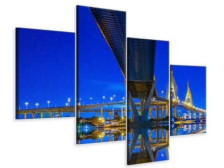 Leinwandbild 4-teilig modern Bhumiboll-Brücke