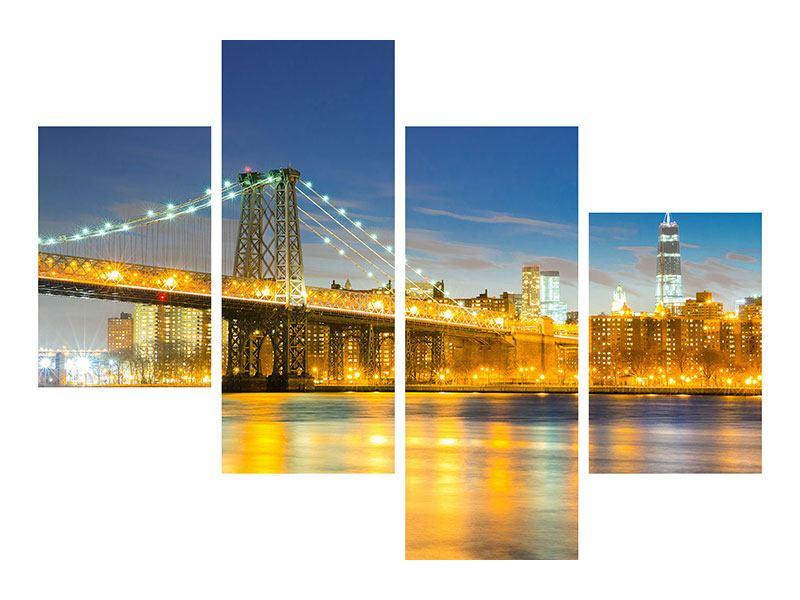 Leinwandbild 4-teilig modern Brooklyn Bridge bei Nacht