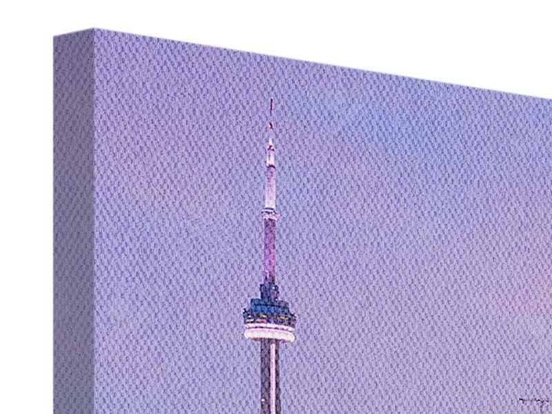 Leinwandbild 4-teilig modern Skyline Toronto bei Nacht