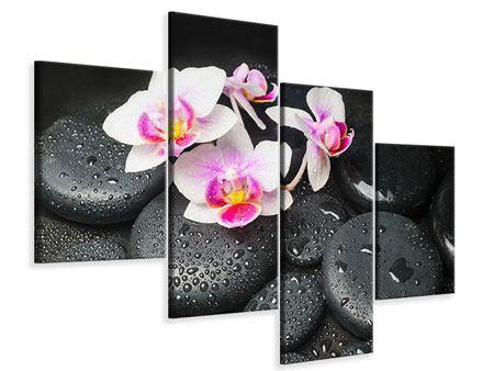 Leinwandbild 4-teilig modern Feng-Shui-Orchidee Zen