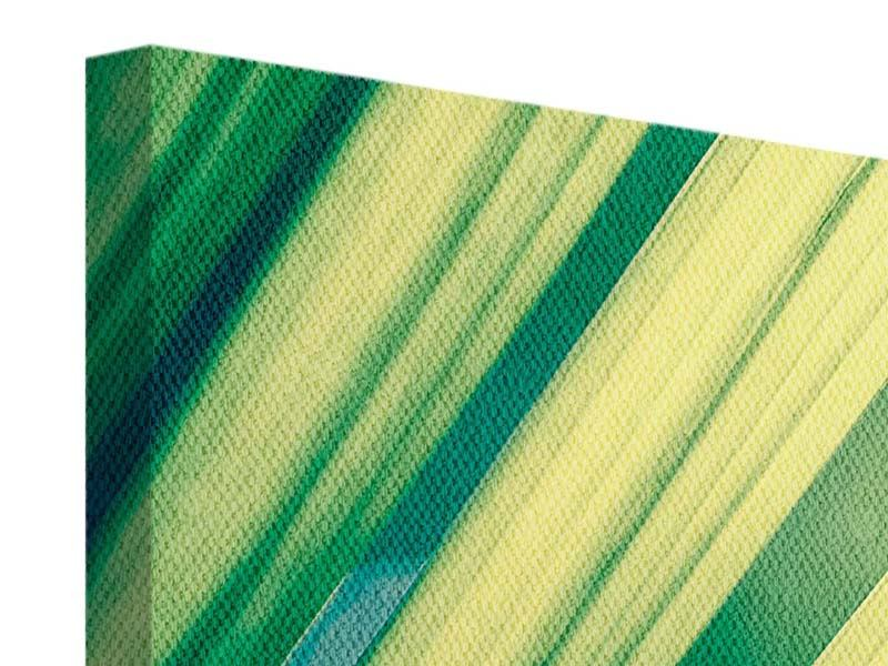 Leinwandbild 4-teilig modern Beleuchtetes Palmblatt