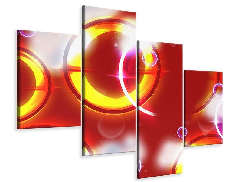 Leinwandbild 4-teilig modern Abstraktes Retro