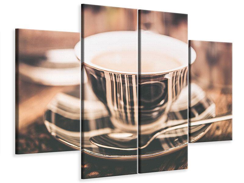 Leinwandbild 4-teilig Der Kaffee ist fertig