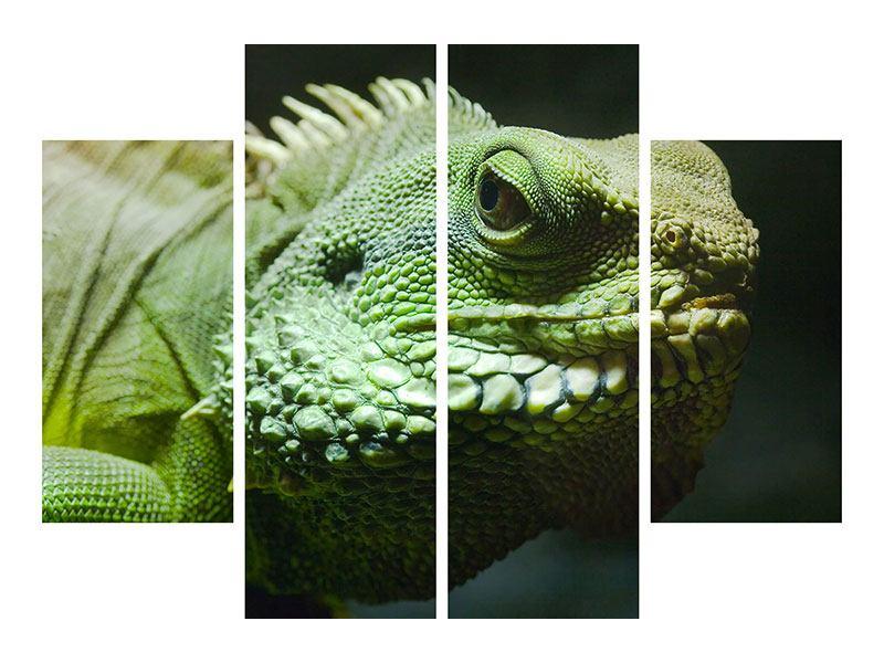 Leinwandbild 4-teilig XXL Leguan