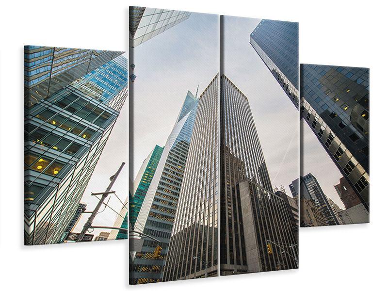 Leinwandbild 4-teilig Hochhäuser