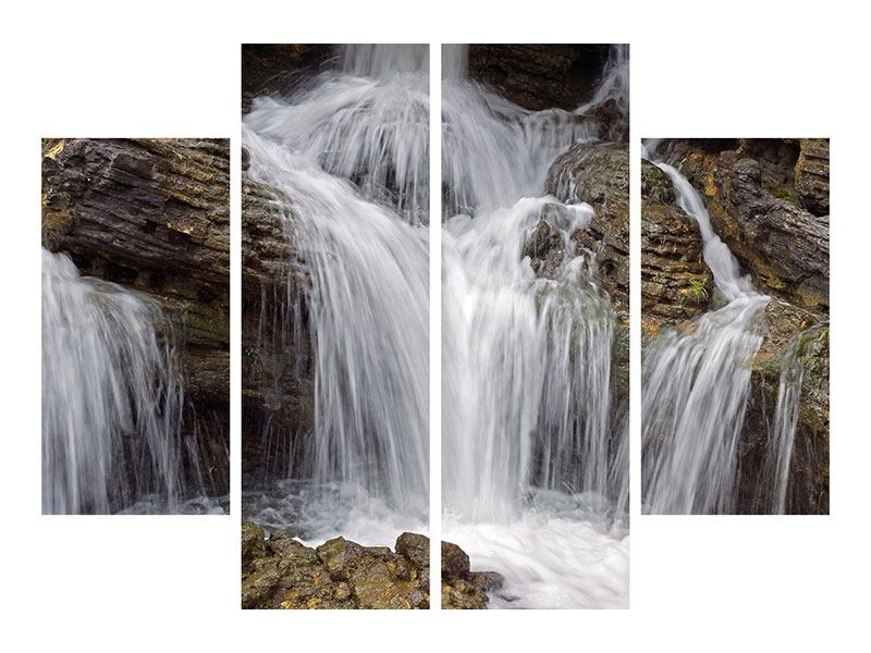 Leinwandbild 4-teilig Wasserfall XXL