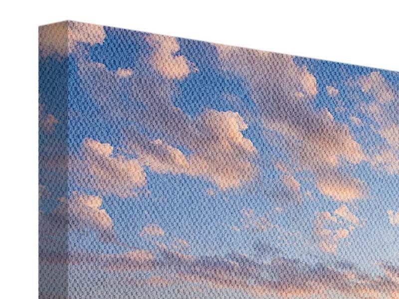 Leinwandbild 4-teilig Romantischer Sonnenuntergang am Meer