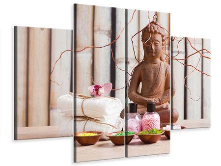 Leinwandbild 4-teilig Buddha + Wellness