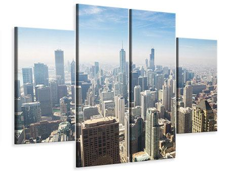 Leinwandbild 4-teilig Wolkenkratzer Chicago