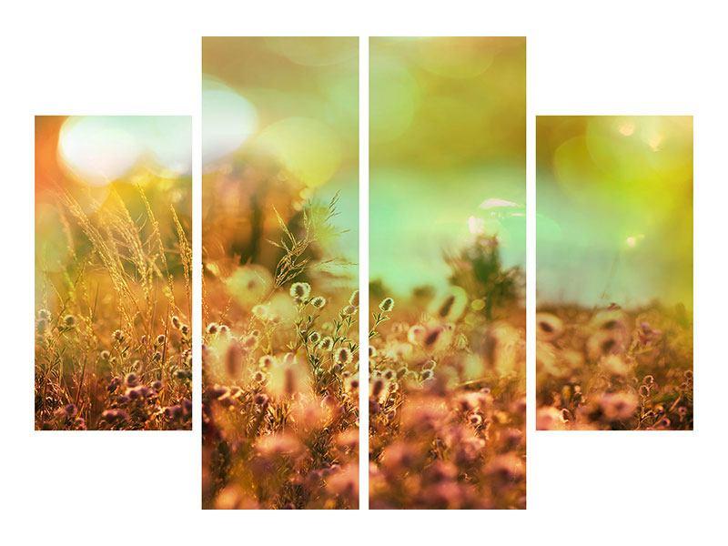 Leinwandbild 4-teilig Blumenwiese in der Abenddämmerung