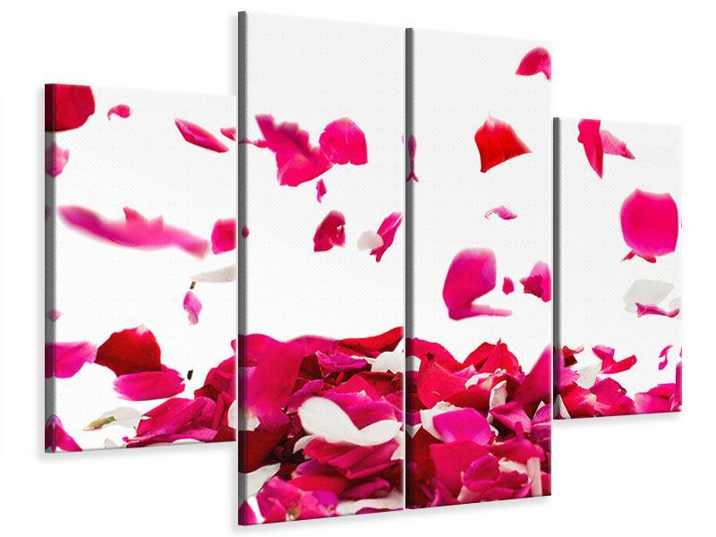 Leinwandbild 4-teilig Für mich soll`s rote Rosen regnen