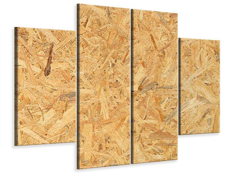 Leinwandbild 4-teilig Gepresstes Holz