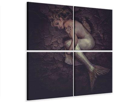 Leinwandbild 4-teilig Meerjungfrau