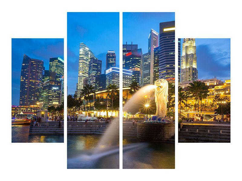 Leinwandbild 4-teilig Skyline Singapur im Lichtermeer
