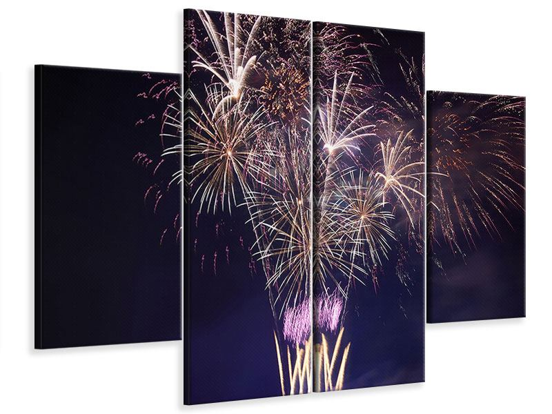 Leinwandbild 4-teilig Feuerwerk