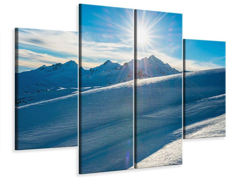 Leinwandbild 4-teilig Ein Wintermärchen in den Bergen
