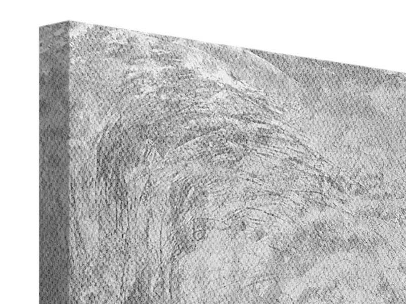 Leinwandbild 4-teilig Wischtechnik in Grau