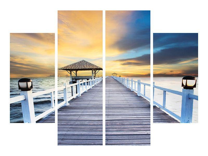Leinwandbild 4-teilig Die Brücke ins Meer